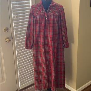 NEW LLBean 'Royal Stewart' plaid flannel nightgown